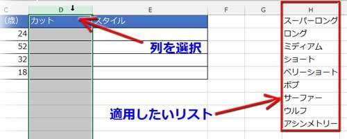 入力規則のリストを設定する列の選択