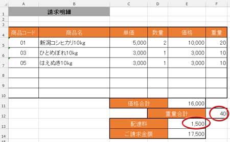 商品コードと数量から「重量合計」と「配達料」を自動入力