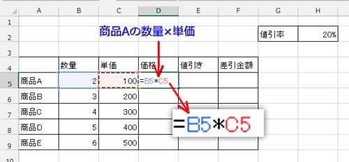 数量×単価の数式を入力