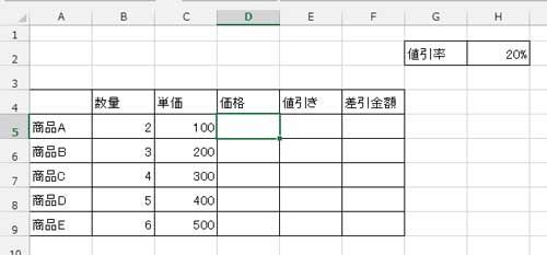 相対参照の使用例に使う表サンプル