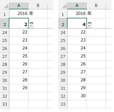 2月と4月のカレンダー表示