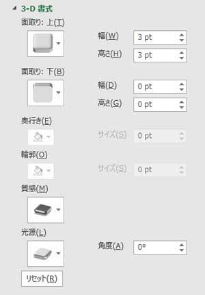 折れ線に3-D書式の面取り(上)丸、質感メタルを適用