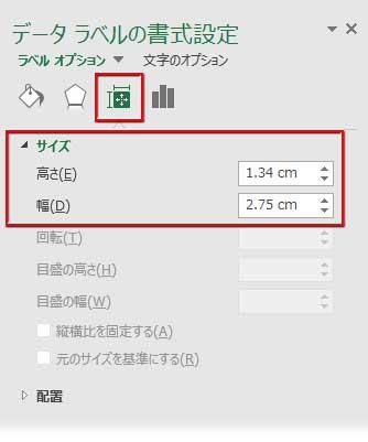 データラベルのサイズの書式設定