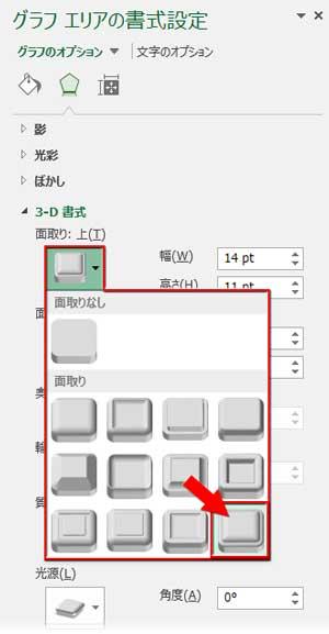 3-D書式の面取り/アールデコを適用