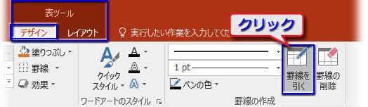 表ツール⇒デザインの罫線を引くボタンをクリック