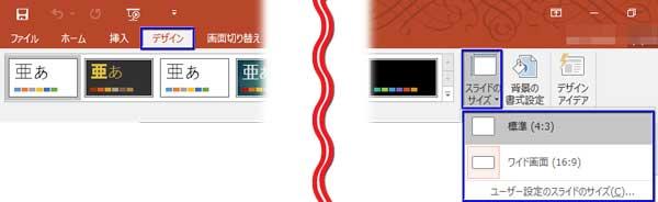 「デザイン」タブの「スライドのサイズ」ボタン