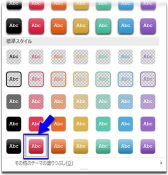 スライド番号の土台に図形のスタイルを適用