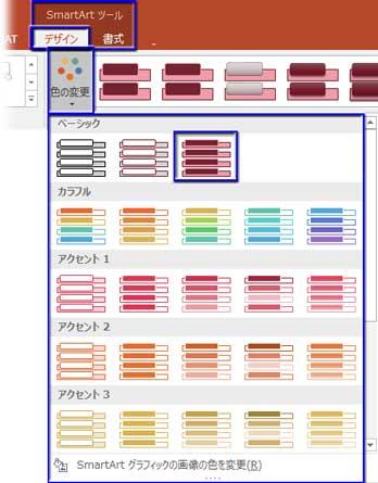 SmartArtツール⇒デザインの色の変更リストから選択