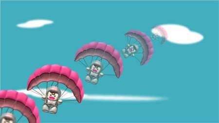 ハンググライダーのアニメーションの動き