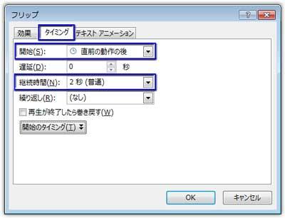 フリップ効果のオプションの「タイミング」タブで設定