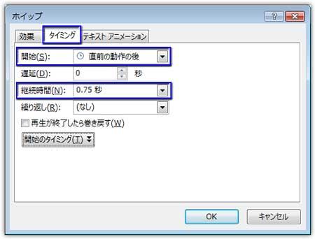 ホイップの効果のオプションのタイミングを設定