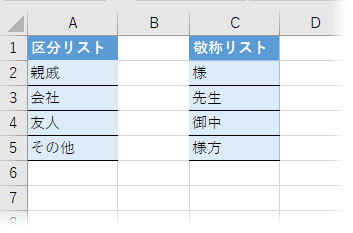 区分リストと敬称リストを作る