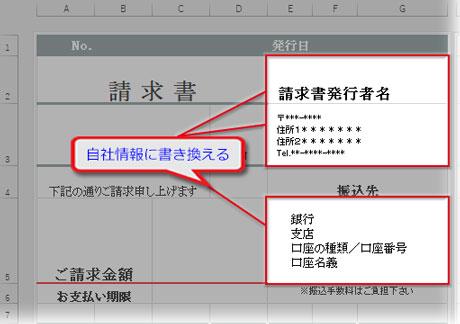 請求書発行元の情報を入力
