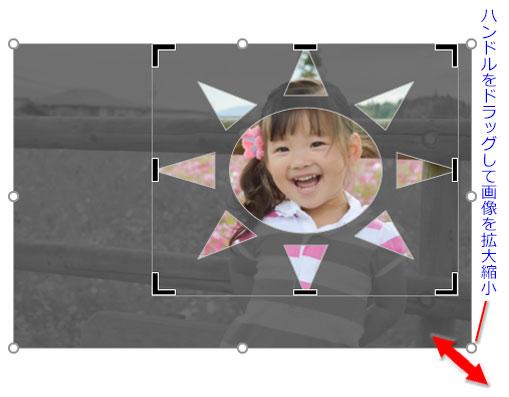 画像周りのハンドルをドラッグして画像サイズを修正