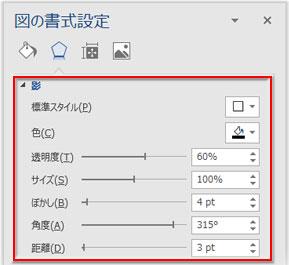 「図の書式設定」の「影」の詳細設定