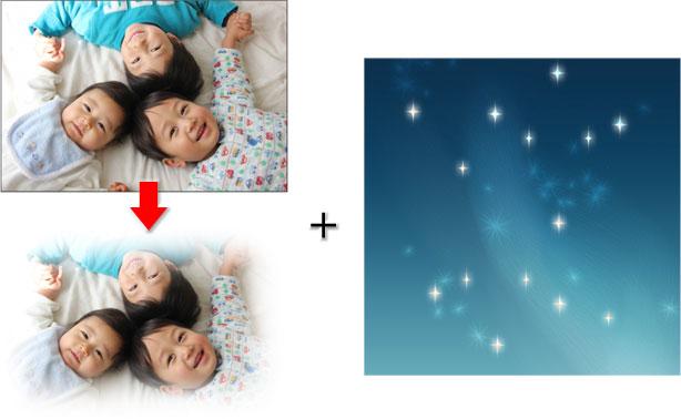 ぼかした写真と夜空の背景を合成
