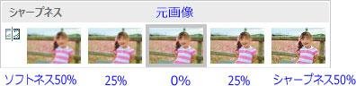 「修正▼」→「シャープネス」で元画像より右のアイコンをクリック