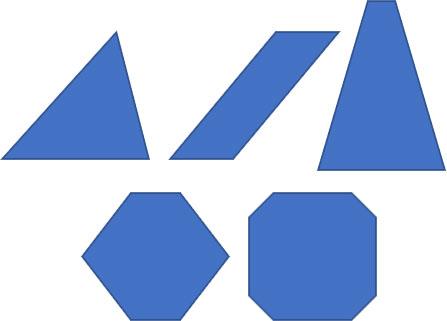 「二等辺三角形」「平行四辺形」「台形」「六角形」「八角形」の変形例