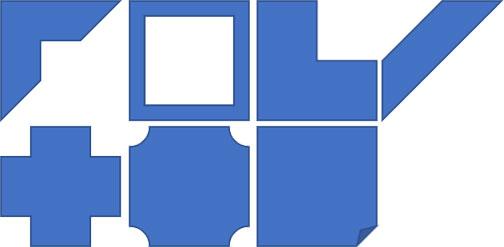 基本図形のフレーム・縞・L字十字・ブローチ・メモ