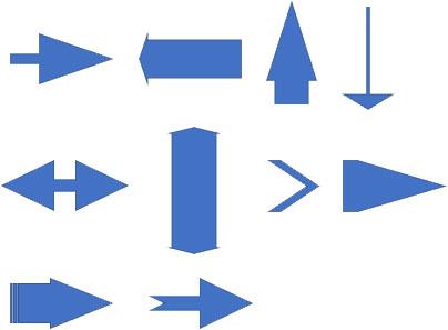 図形・直線矢印の変形例