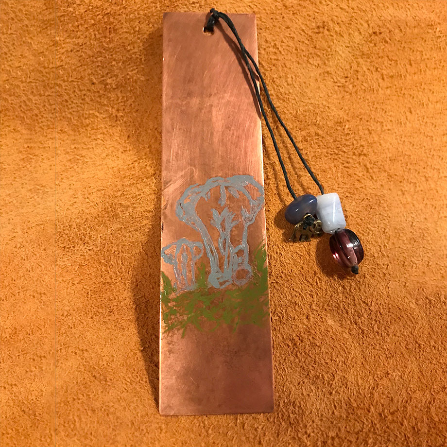 Cooper etched and painted elephant bookmark