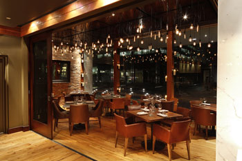 Reds Wine Tavern's Adelaide Room looks out to the Financial District
