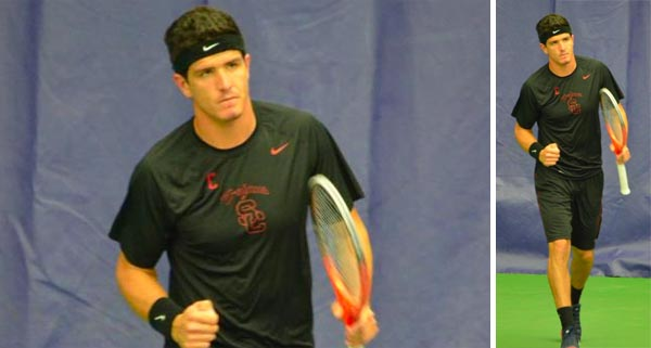 Emilio Gomez plays in the ITA National Men/s Tennis Team Indoor Championship