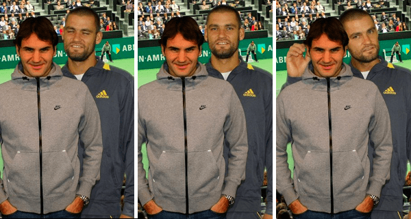 Mikhail Youzhny poses with Roger Federer in Rotterdam