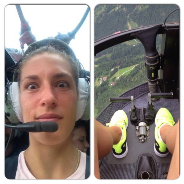 Andrea Petkovic flies a helicopter