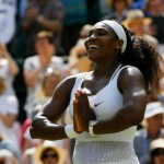 Serena Williams of the United States gestures after winning the singles match Garbine Muguruza of Spain after the women's singles final at the All England Lawn Tennis Championships in Wimbledon, London, Saturday July 11, 2015. Williams won 6-4, 6-4.