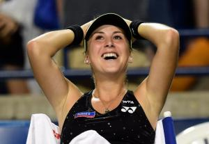 Belinda Bencic is all smiles after beating Serena Williams at the Rogers Cup 2015