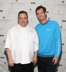 """NEW YORK, NY - AUGUST 27: Andy Murray (R) and Chef Romeo Stivaletti attend """"An Evening With Andy Murray"""" event at Langham Place on August 27, 2016 in New York City. (Photo by Rob Kim/Getty Images for Langham Place, New York)"""