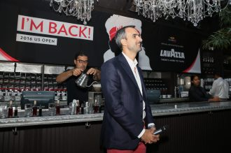NEW YORK, NY - AUGUST 30: Marco Lavazza speaks at the kickoff party announcing their global partnership with Andre Agassi at NOMO Kitchen on August 30, 2016 in New York City. (Photo by Ed Mulholland/Getty Images for Lavazza)