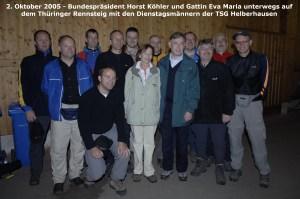 Bundespräsident Köhler auf der Wanderung in Oberhof ' Wanderweg der Deutschen Einheit '