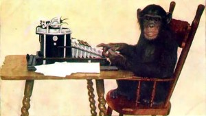 Chimp at typewriter
