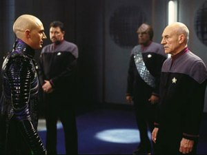 Patrick Stewart and Tom Hardy in Star Trek: Nemesis
