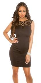 41743 FS Κομψό μίνι φόρεμα με δαντέλα - μαύρο-Μαύρο