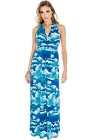 9018 GB Μάξι φόρεμα με τύπωμα-Μπλε