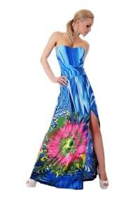 30920 SD Μάξι στράπλες φόρεμα με έντονα χρώματα - μπλέ-Μπλε