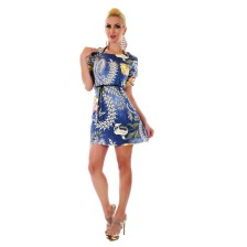31053 SD Μίνι φλοράλ φόρεμα - Μπλε-Μπλε