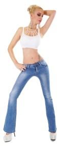 31077 SD Ξεβαμμένο τζήν παντελόνι καμπάνα - Μπλέ-Μπλε