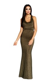 60036 DR Μάξι μεταλιζέ φόρεμα με ανοιχτή πλάτη - Χρυσό-Χρυσό