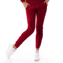 61108 LX Βελουτέ παντελόνι φόρμας - μπορντώ-Κοκκινο