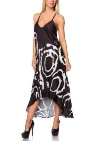 8578 AX Μακρύ εξώπλατο μπατίκ φόρεμα - Μαύρο-Μπλε