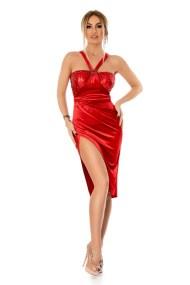 9294 RO Βραδινό μίντι βελούδινο φόρεμα με παγιέτες - Κόκκινο-Κοκκινο