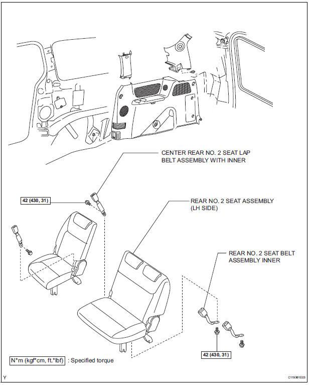Toyota Sienna Service Manual: Rear center seat inner belt