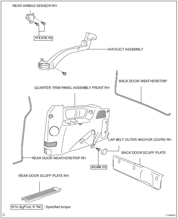 Toyota Sienna Service Manual: Rear airbag sensor