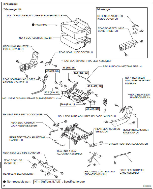 Toyota Sienna Service Manual: Rear no. 1 Seat assembly