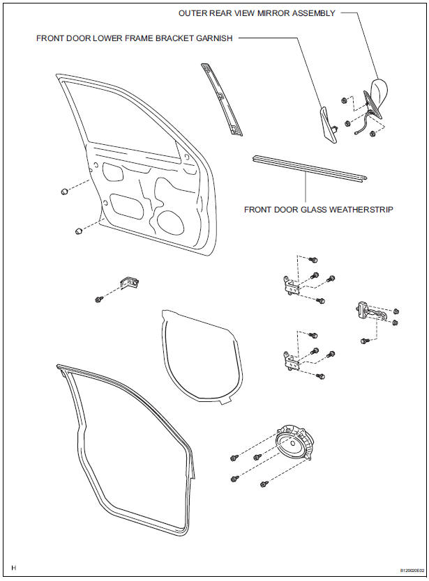 Toyota Sienna Service Manual: Front door glass