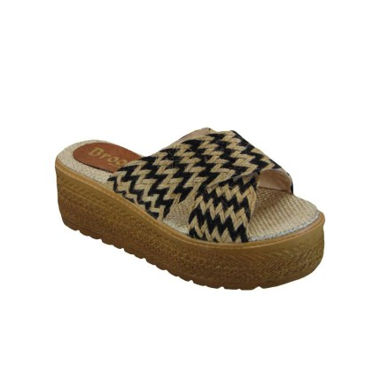 Tsimpolis Shoes 109 Παντόφλα Από Τριχιά Μπέζ-Μαύρη